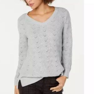 Style & Co Pointelle-Knit Tunic Sweater Grey Small